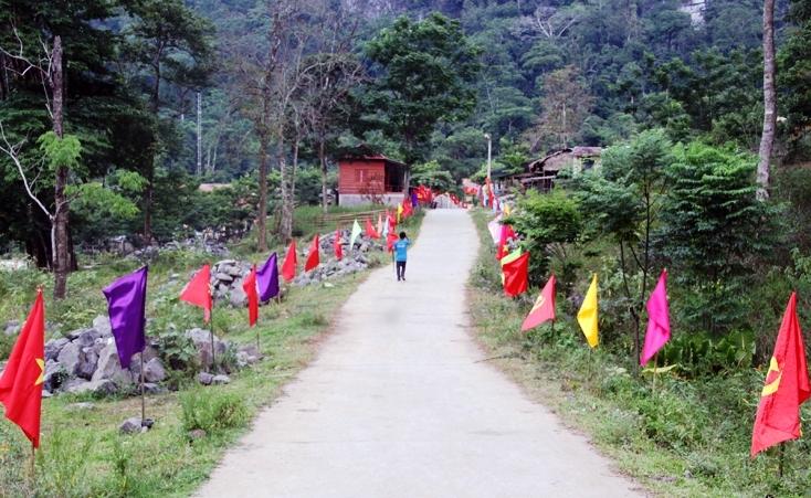 Con đường dẫn tới điểm bầu cử sớm ở xã Tân Trạch, huyện Bố Trạch, tỉnh Quảng Bình được trang hoàng bằng những lá cờ rực rỡ