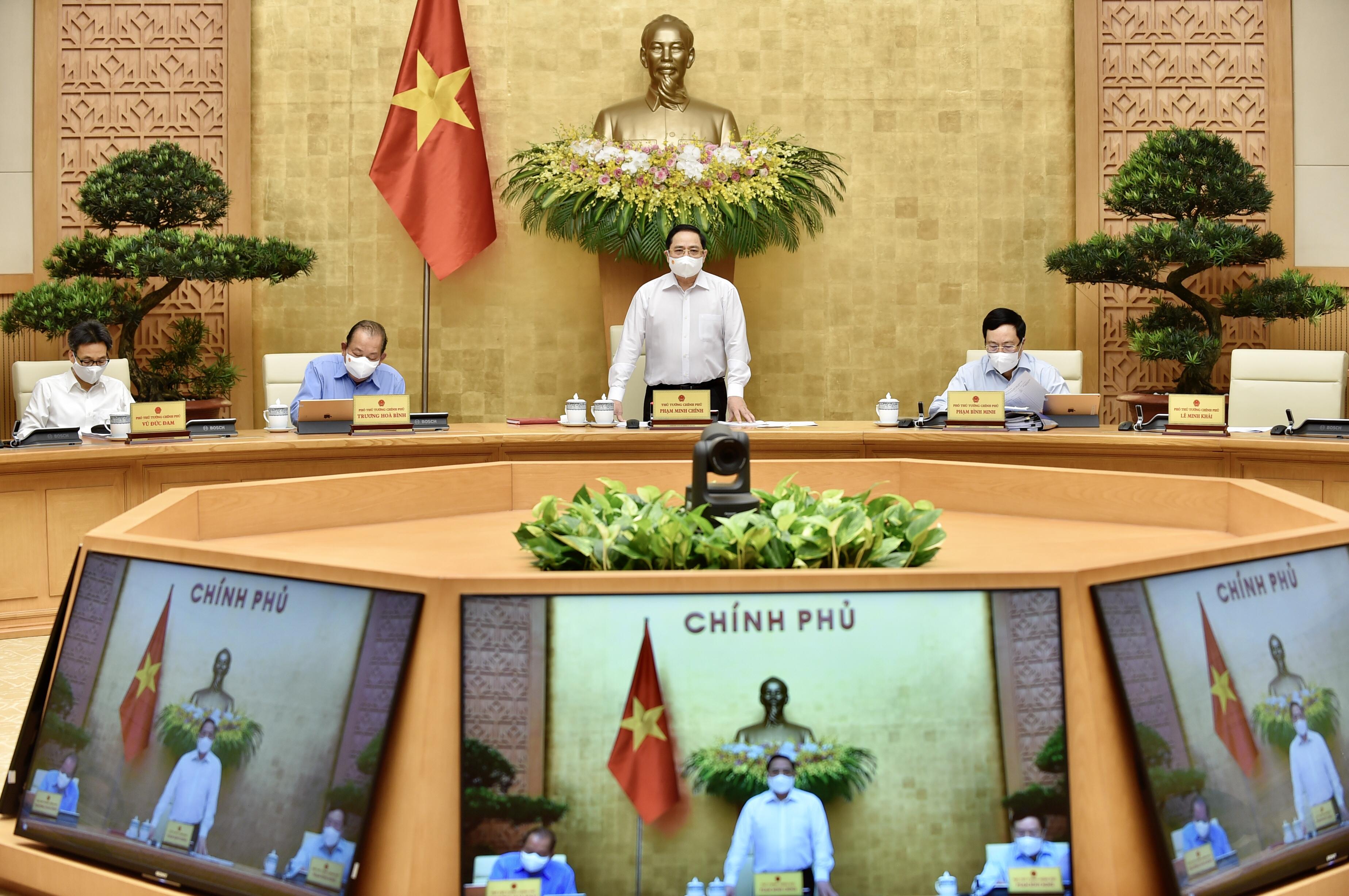 Thủ tướng Phạm Minh Chính chủ trì phiên họp Chính phủ thường kỳ tháng 4/2021 (ảnh: Bộ Y tế)