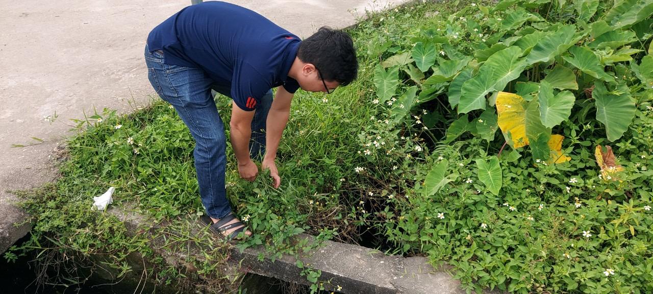 """Một người dân đang cố gắng """"phát lộ"""" dấu tích của kho thuốc BVTV ở khối 6, thị trấn Phố Châu, huyện Hương Sơn."""