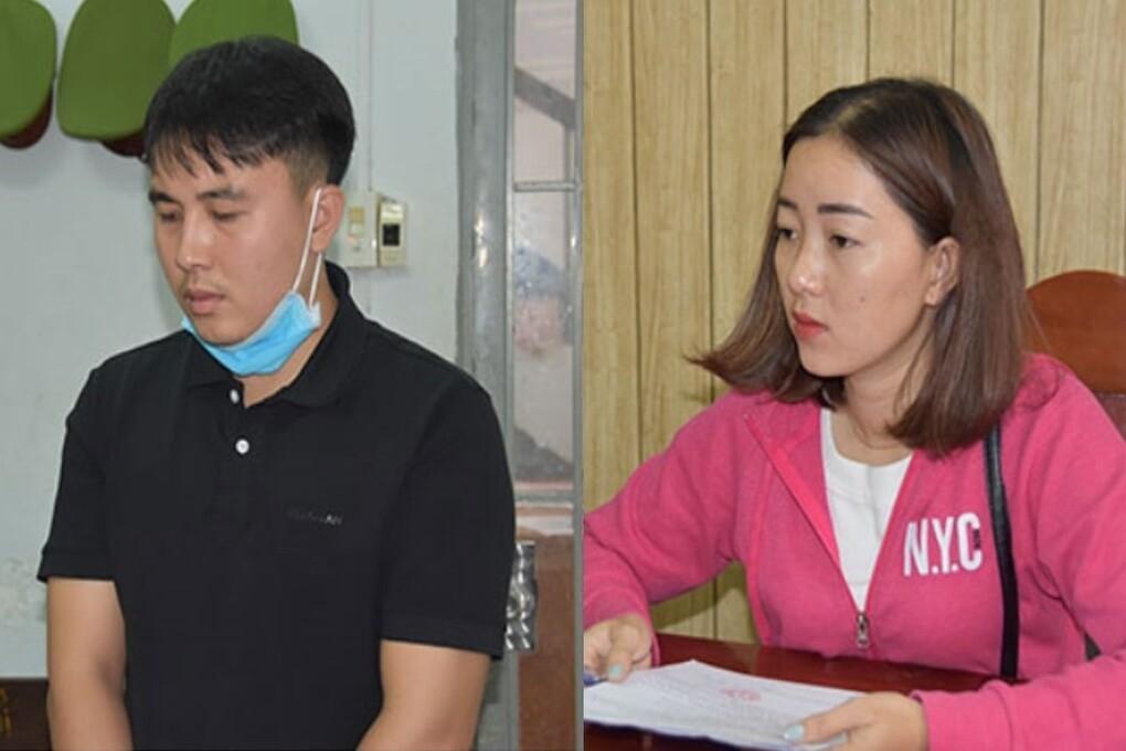 Nguyễn Chí Thắng và Hồ Thị Kim Ngân tại cơ quan điều tra. Ảnh: Công an cung cấp.