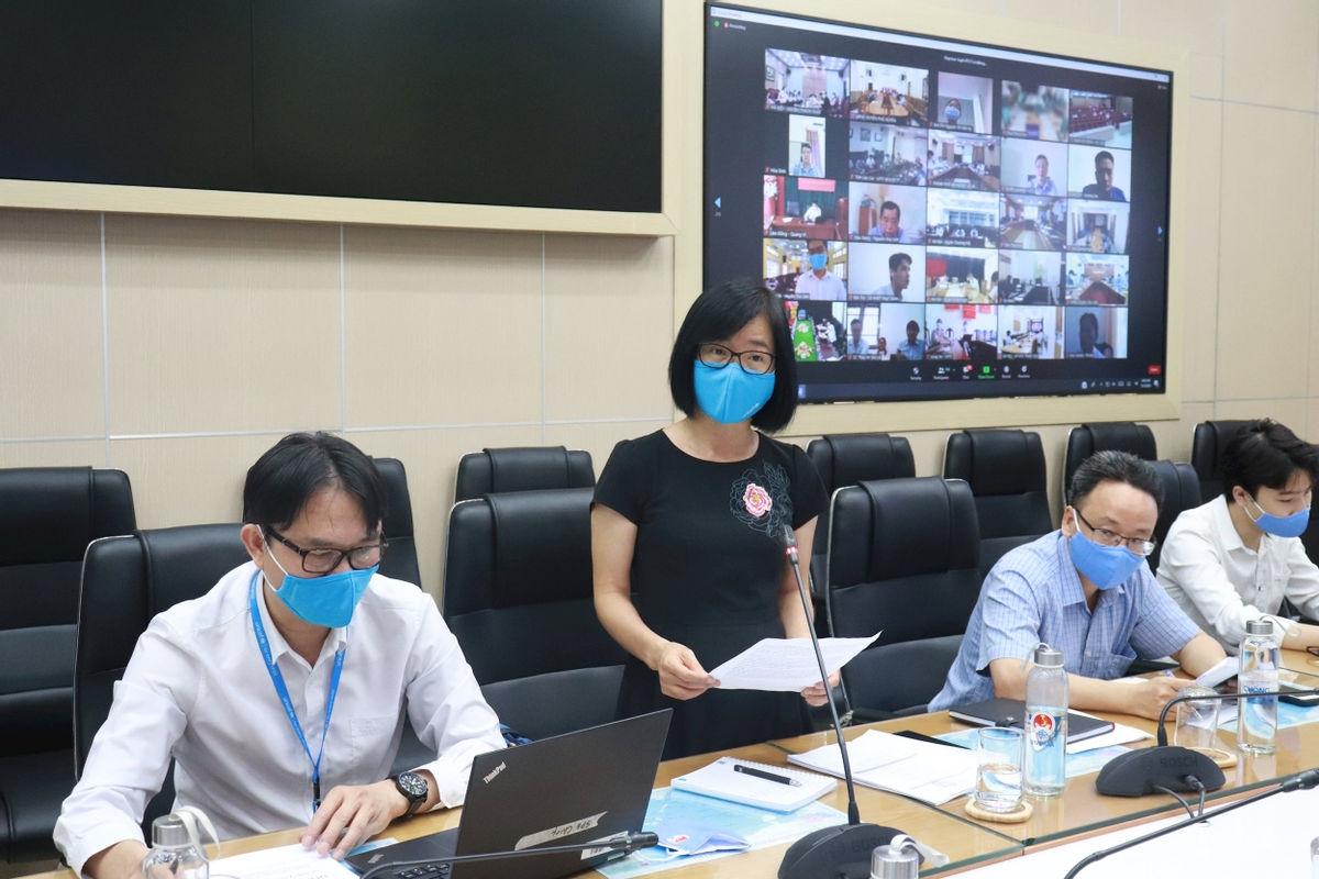 Bà Nguyễn Thị Thanh An, đại diện của Quỹ Nhi đồng Liên Hiệp Quốc (UNICEF) tại Việt Nam phát biểu tại buổi tập huấn trực tuyến.