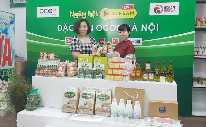 """Sản phẩm OCOP của Hà Nội được giới thiệu tại """"Ngày hội livestream đặc sản OCOP lần 1"""" diễn ra vào đầu tháng 6-2021."""
