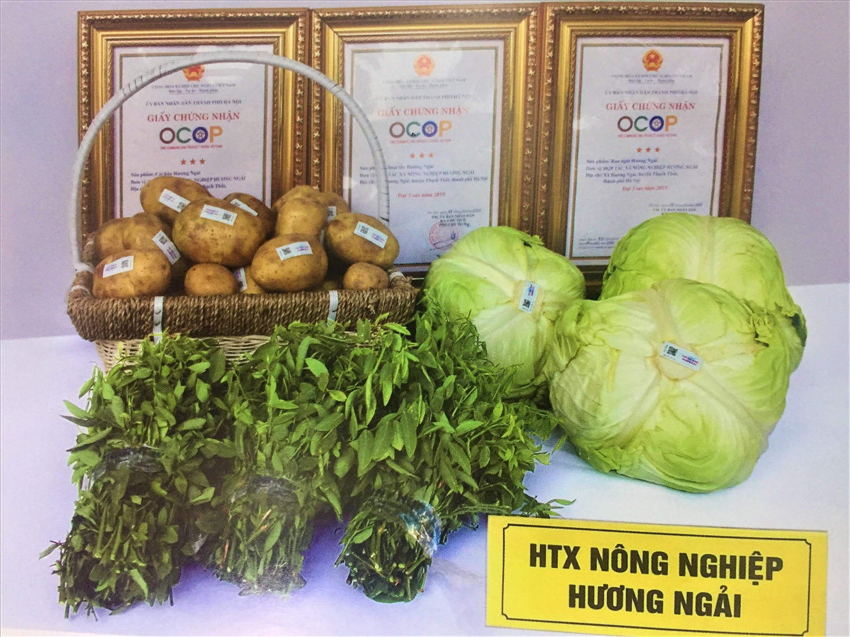 Một số sản phẩm rau củ quả của HTX nông nghiệp Hương Ngải ở xã Hương Ngải, huyện Thạch Thất (Hà Nội) đạt 3 và 4 sao.