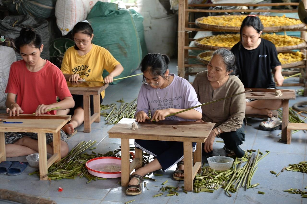 Vào dịp hè nhà bà Thuận thường xuyên có hàng trăm học sinh trong và ngoài huyện đến học cách se sợi, lấy sợ tơ từ thân sen.