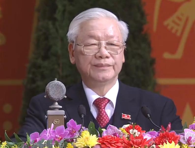 Tổng Bí thư, Chủ tịch nước Nguyễn Phú Trọng đọc diễn văn bế mạc Đại hội lần thứ XIII của Đảng