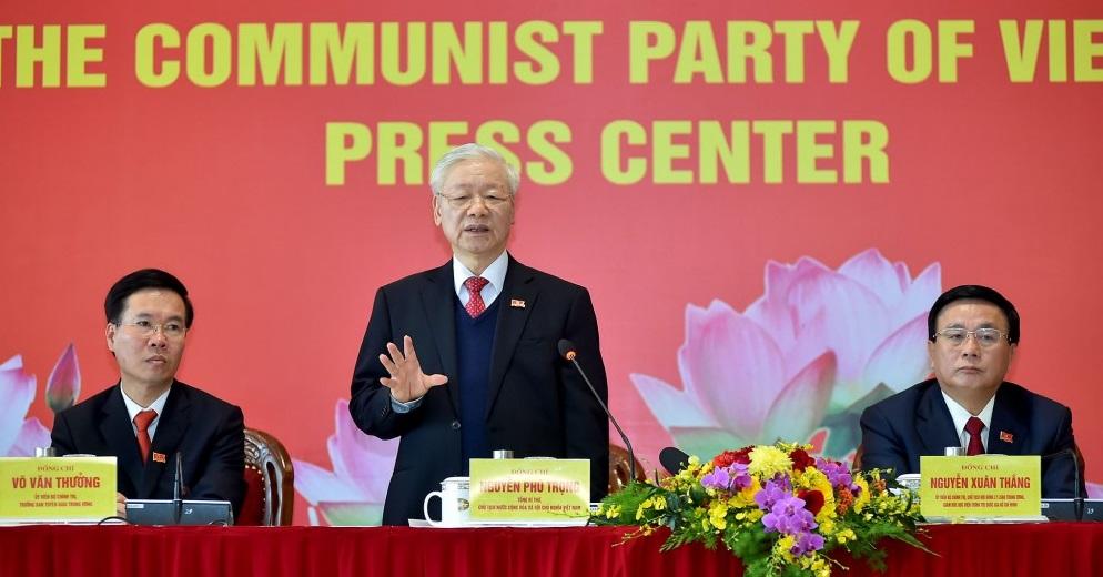 Đồng chí Nguyễn Phú Trọng, Tổng Bí thư Ban Chấp hành Trung ương Đảng khóa XIII, Chủ tịch nước CHXHCN Việt Nam chủ trì họp báo