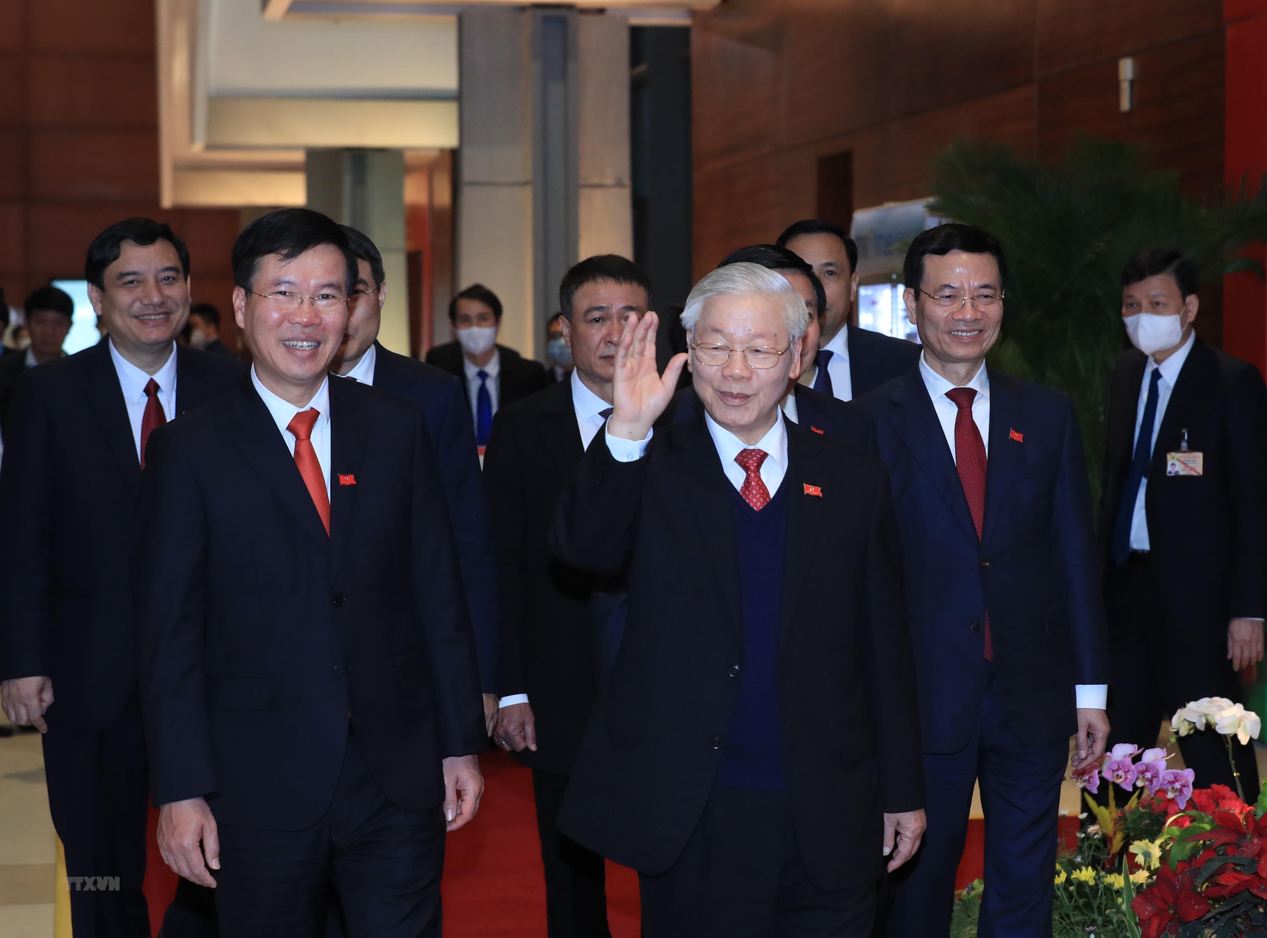 Đồng chí Nguyễn Phú Trọng, Tổng Bí thư Ban Chấp hành Trung ương Đảng khóa XIII, Chủ tịch nước CHXHCN Việt Nam đến dự buổi họp báo