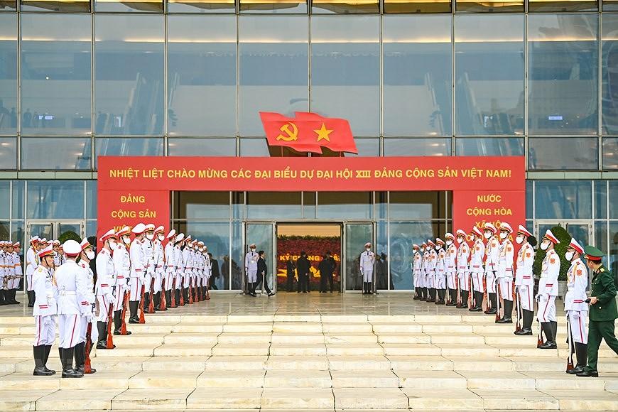 Lực lượng tiêu binh đã được triển khai để đón các đoàn đại biểu. (Ảnh: PV/Vietnam+)