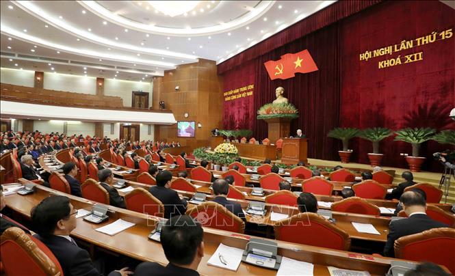 Quang cảnh bế mạc Hội nghị lần thứ 15 Ban Chấp hành Trung ương Đảng Cộng sản Việt Nam khóa XII. Ảnh: Phương Hoa/TTXVN