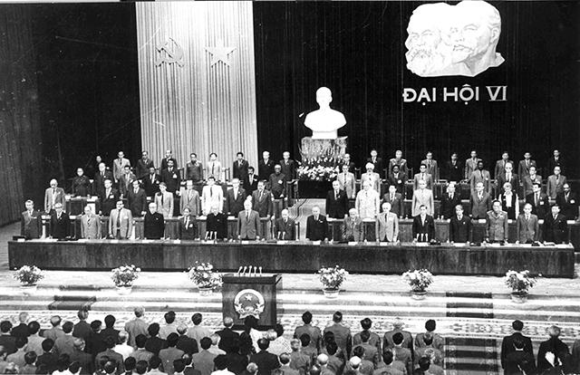 Đại hội đại biểu toàn quốc lần thứ VI của Đảng họp tại Hà Nội từ ngày 15 - 18/12/1986 đề ra đường lối đổi mới toàn diện đất nước (Ảnh tư liệu)