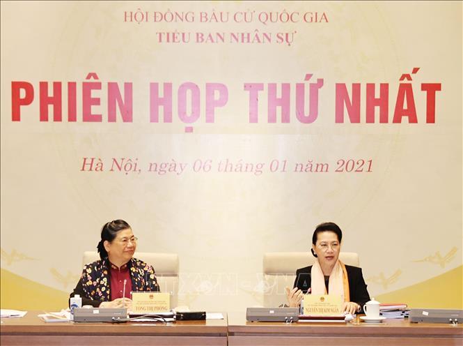 Chủ tịch Quốc hội Nguyễn Thị Kim Ngân và Phó Chủ tịch Thường trực Quốc hội Tòng Thị Phóng chủ trì phiên họp. Ảnh: Trọng Đức/TTXVN