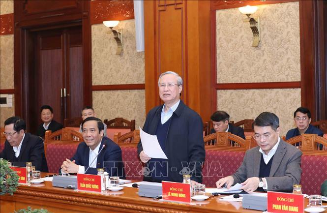 Đồng chí Trần Quốc Vượng, Ủy viên Bộ Chính trị, Thường trực Ban Bí thư, Trưởng Tiểu ban chủ trì Hội nghị. Ảnh: Phương Hoa/TTXVN