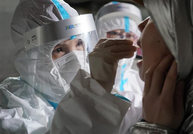 Nhân viên y tế lấy mẫu xét nghiệm Covid-19 tại tỉnh Hà Bắc, Trung Quốc, ngày 7/1/2021. Ảnh: THX/TTXVN