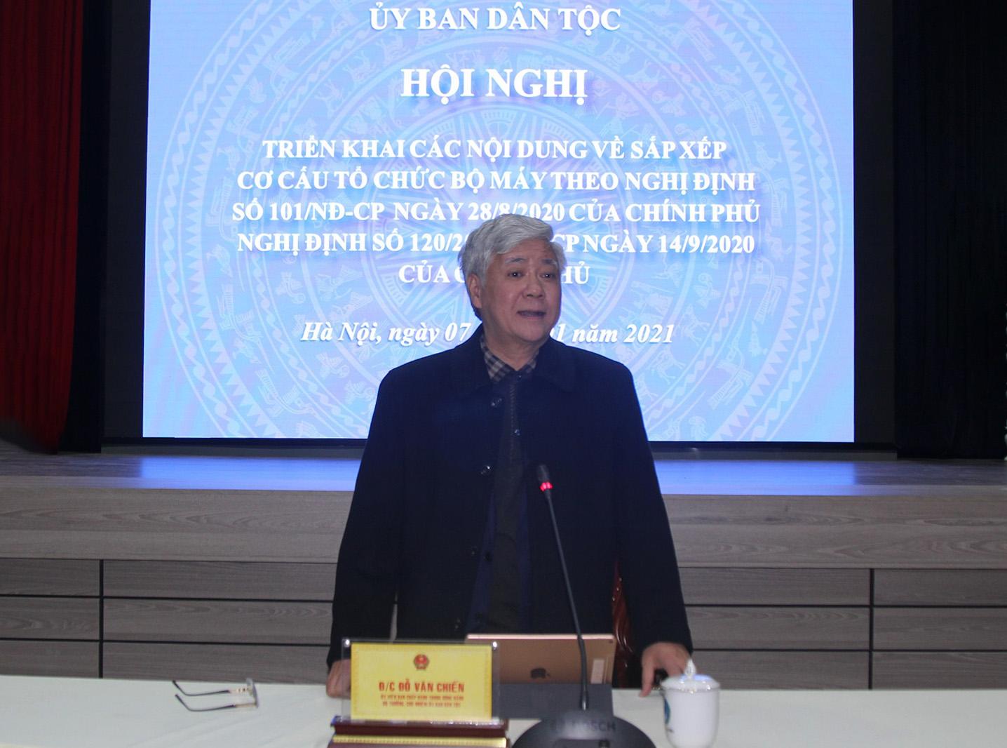 Bộ trưởng, Chủ nhiệm UBDT Đỗ Văn Chiến phát biểu tại Hội nghị