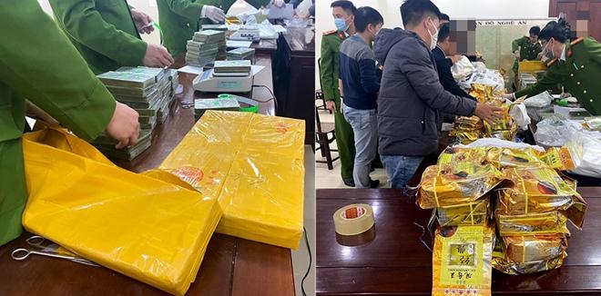 Cơ quan CSĐT Công an tỉnh Nghệ An phối hợp lực lượng chức năng tổ chức giám định số ma tuý thu giữ trong chuyên án.