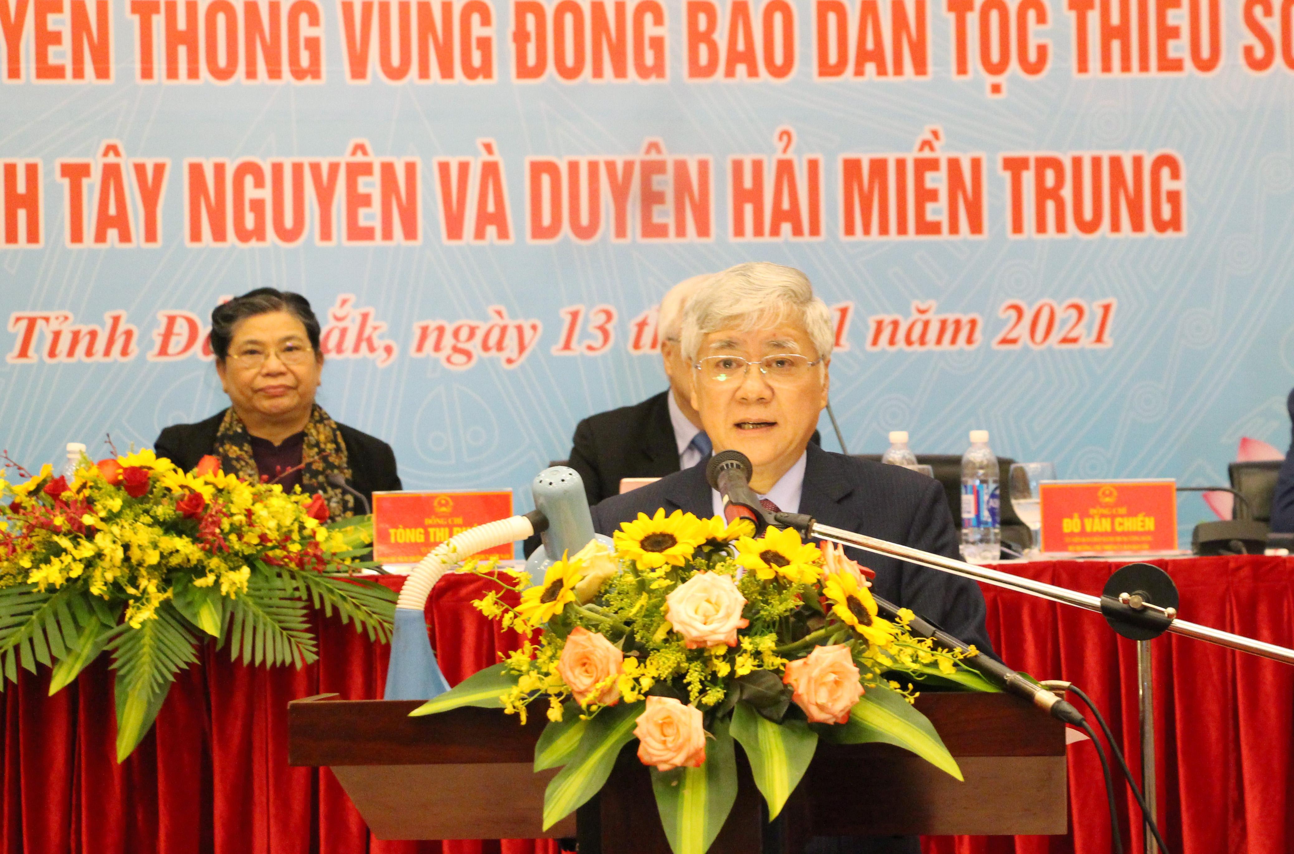 Bộ trưởng, Chủ nhiệm Ủy ban Dân tộc Đỗ Văn Chiến phát biểu tại Hội thảo