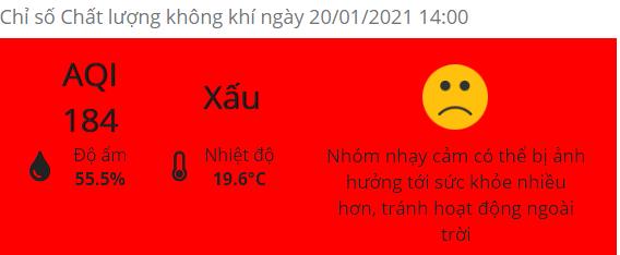 Chất lượng không khí tại Hà Nội hôm nay ở mức xấu, có nới còn gần chạm ngưỡng màu tím (rất xấu).