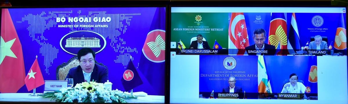 Hội nghị hẹp Bộ trưởng Ngoại giao ASEAN được tổ chức theo hình thức trực tuyến