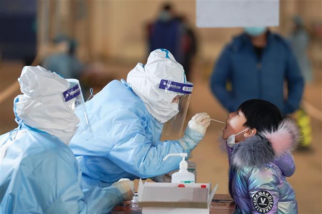 Nhân viên y tế lấy mẫu xét nghiệm COVID-19 tại quận Đại Hưng, Bắc Kinh, Trung Quốc, ngày 20/1/2021. Ảnh: THX/TTXVN