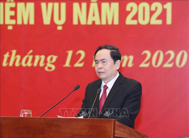 Đồng chí Trần Thanh Mẫn, Bí thư Trung ương Đảng, Chủ tịch Uỷ ban Trung ương Mặt trận Tổ quốc Việt Nam. Ảnh: Phương Hoa/TTXVN