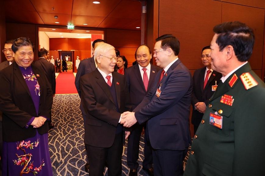 Tổng Bí thư, Chủ tịch nước Nguyễn Phú Trọng cùng các đại biểu dự Phiên trù bị Đại hội Đảng