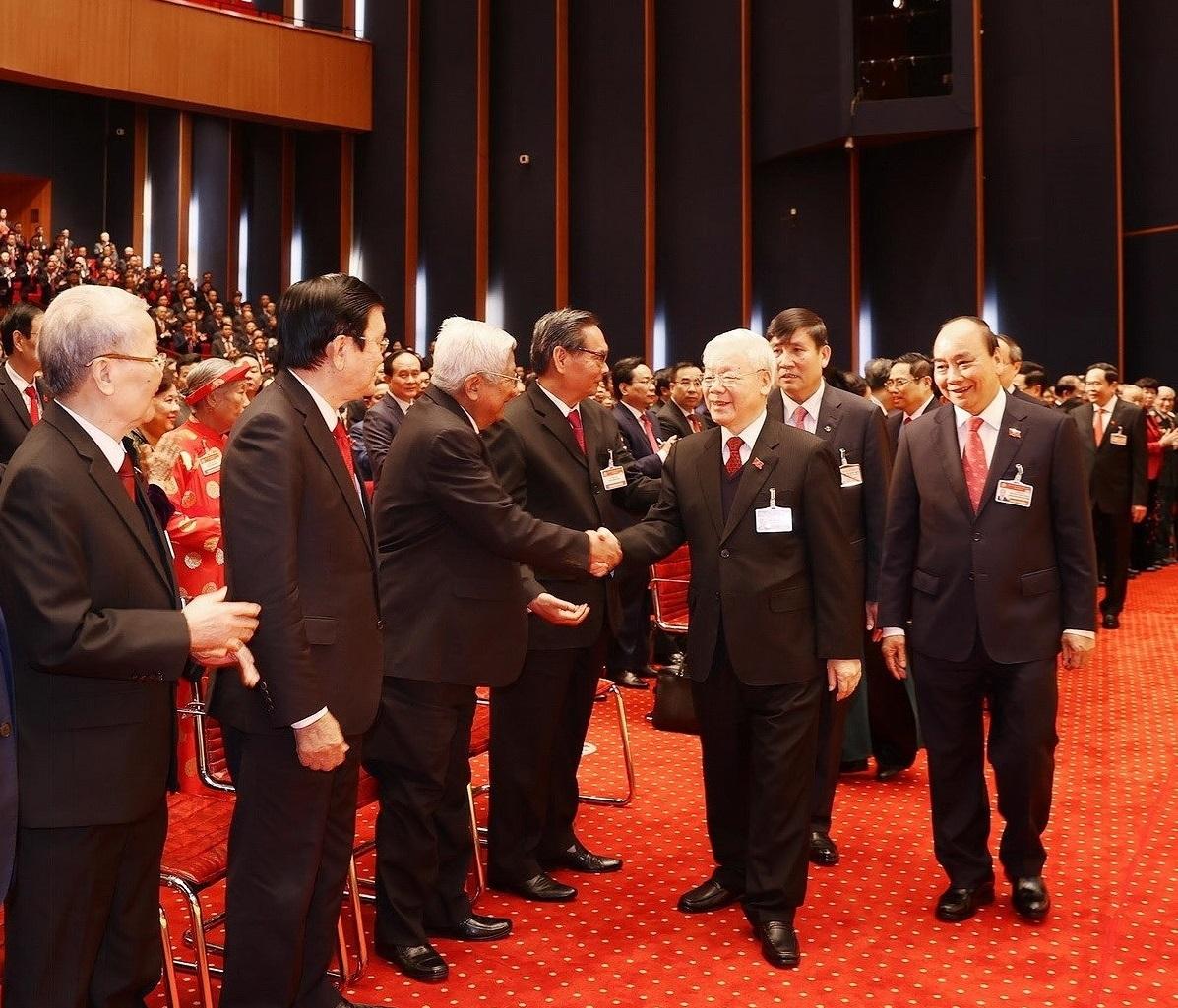 Tổng Bí thư, Chủ tịch nước Nguyễn Phú Trọng và các đại biểu dự Phiên khai mạc Đại hội XIII của Đảng (Nguồn: TTXVN)