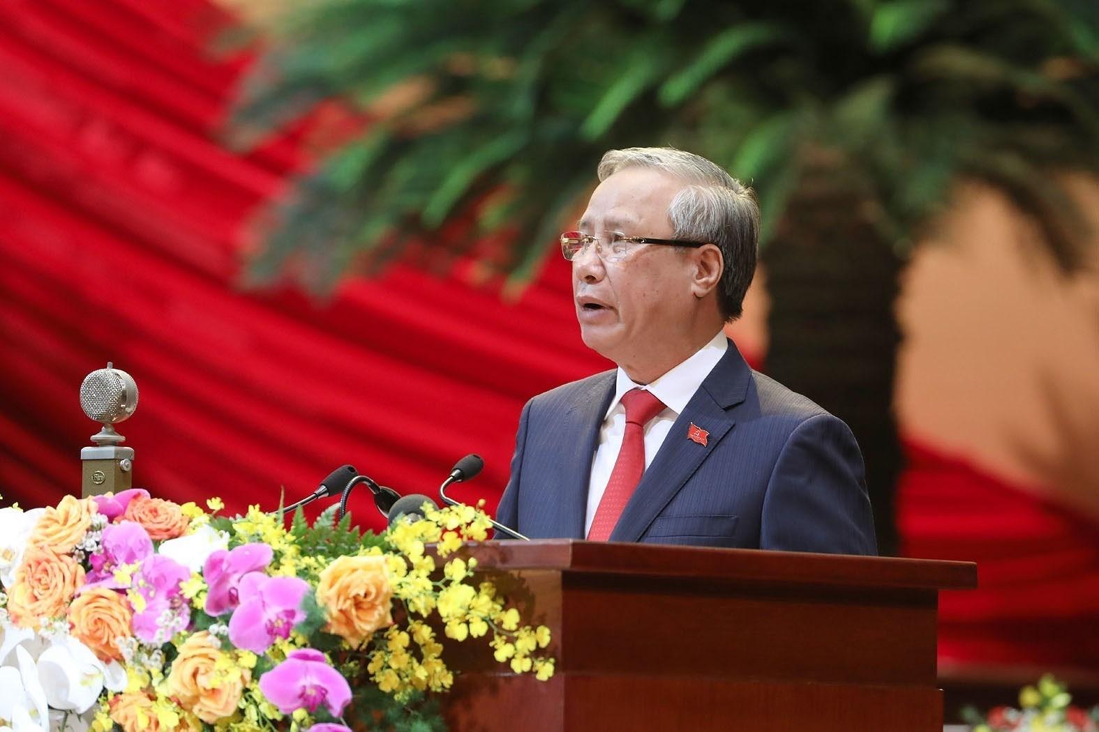 Ủy viên Bộ Chính trị, Thường trực Ban Bí thư Trần Quốc Vượng thay mặt Đoàn Chủ tịch tuyên bố lý do, giới thiệu đại biểu và khách mời của Đại hội (Nguồn: TTXVN)