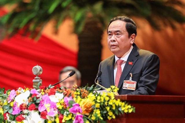 Bí thư Trung ương Đảng, Chủ tịch Ủy ban Trung ương MTTQ Việt Nam Trần Thanh Mẫn trình bày tham luận tại Đại hội