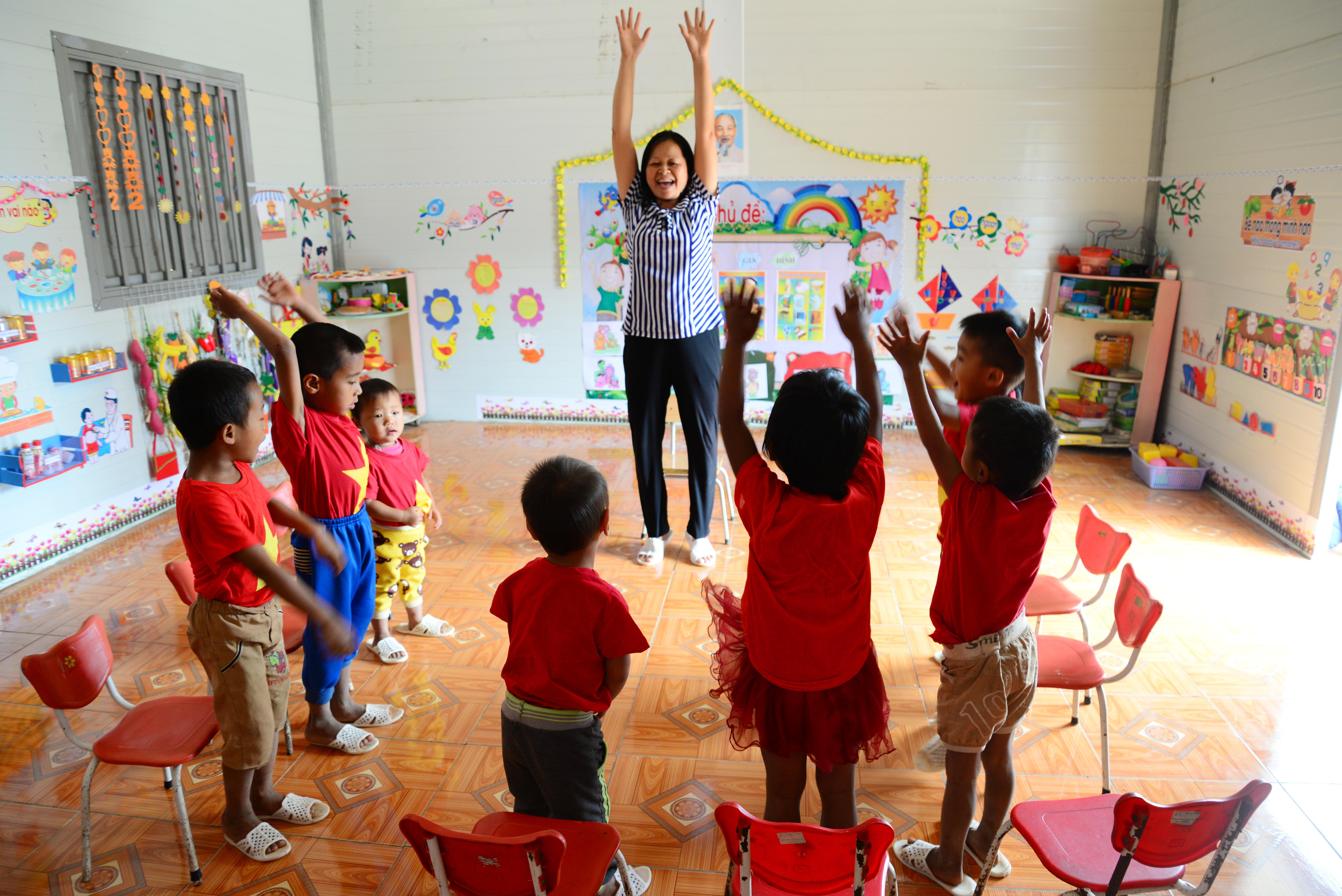 Lớp học tại điểm trường Mầm non Pa Thơm (huyện Điện Biên)