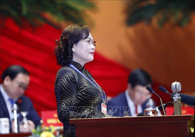 Đồng chí Nguyễn Thị Hồng, Thống đốc Ngân hàng Nhà nước Việt Nam trình bày tham luận. Ảnh: TTXVN
