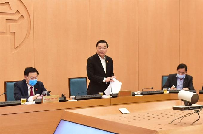 Chủ tịch UBND thành phố Hà Nội Chu Ngọc Anh phát biểu tại cuộc họp Ban Chỉ đạo công tác phòng, chống dịch COVID-19 thành phố Hà Nội chiều 28/1 (Ảnh: hanoimoi.com.vn)