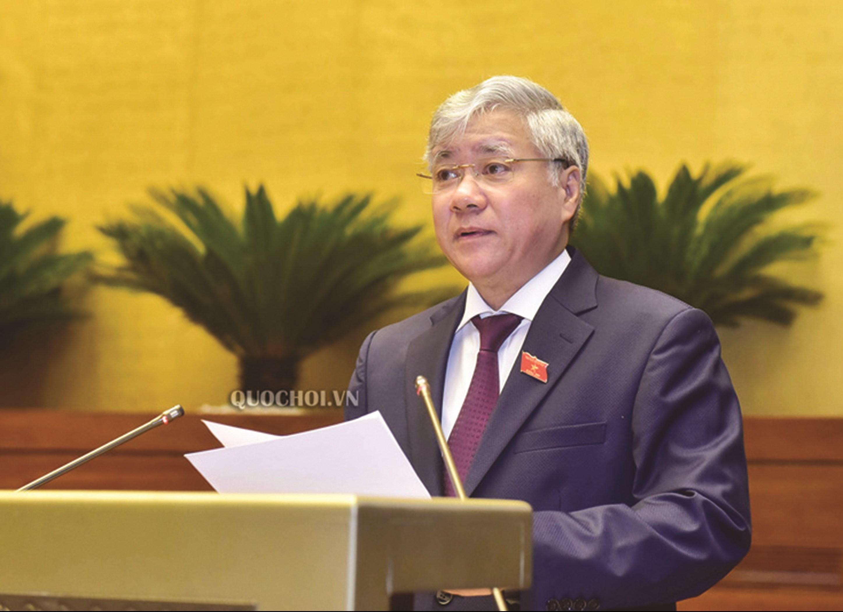 """Bộ trưởng, Chủ nhiệm Ủy ban Dân tộc Đỗ Văn Chiến báo cáo trước Quốc hội """"Chương trình mục tiêu quốc gia phát triển KT-XH vùng đồng bào dân tộc thiểu số và miền núi"""", giai đoạn 2021-2030."""