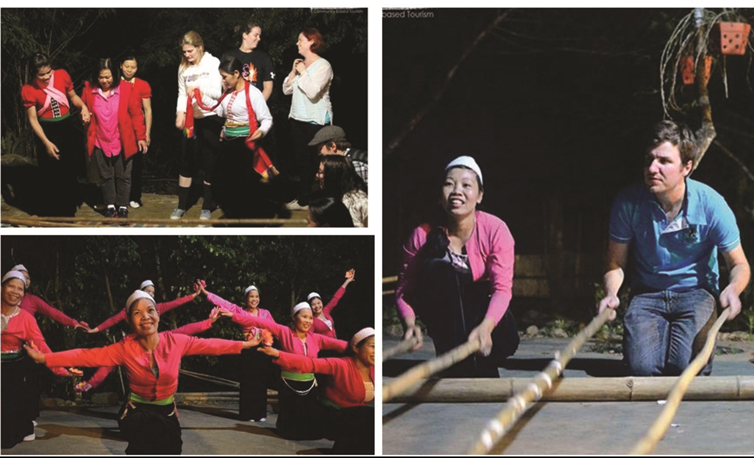 Khách du lịch quốc tế trải nghiệm các hoạt động văn hóa tại các LVHDLCĐ ở Đà Bắc, tỉnh Hòa Bình.