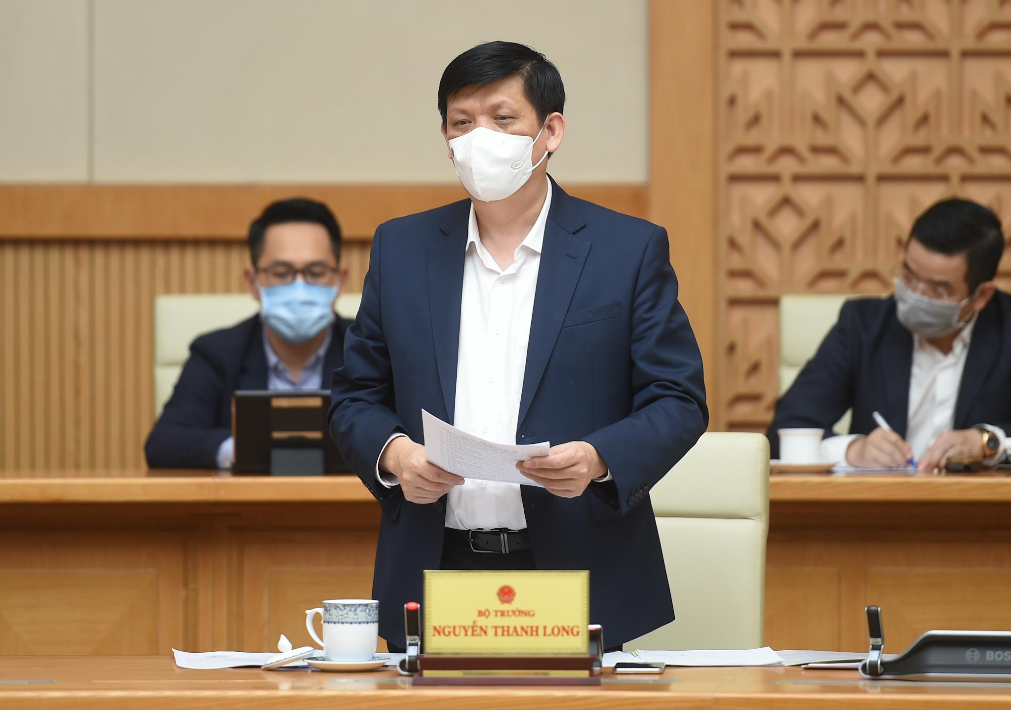 Bộ trưởng Bộ Y tế Nguyễn Thanh Long phát biểu tại cuộc họp. - Ảnh: VGP/Quang Hiếu