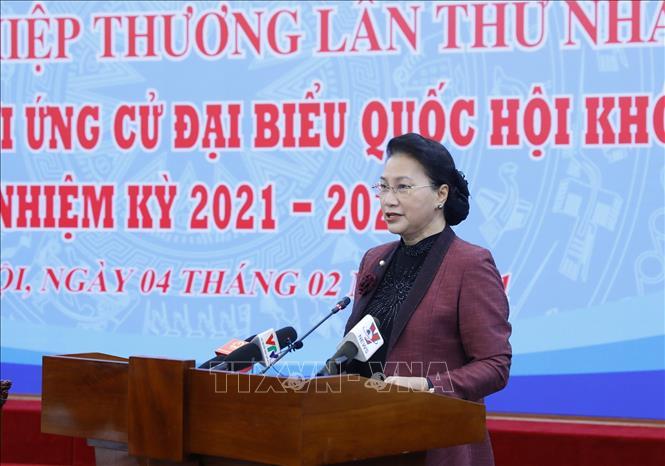 Chủ tịch Quốc hội Nguyễn Thị Kim Ngân, Chủ tịch Hội đồng Bầu cử quốc gia phát biểu chỉ đạo. Ảnh: Dương Giang/TTXVN