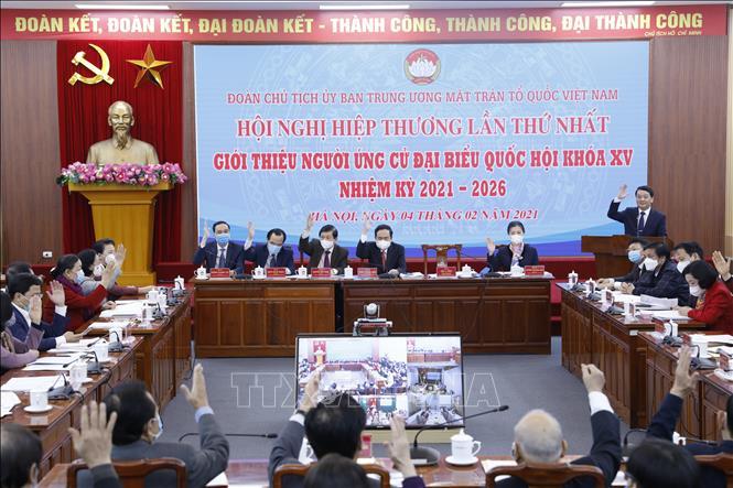 Hội nghị hiệp thương lần thứ nhất giới thiệu người ứng cử đại biểu quốc hội khóa XV, nhiệm kỳ 2021-2026. Ảnh: Dương Giang/TTXVN