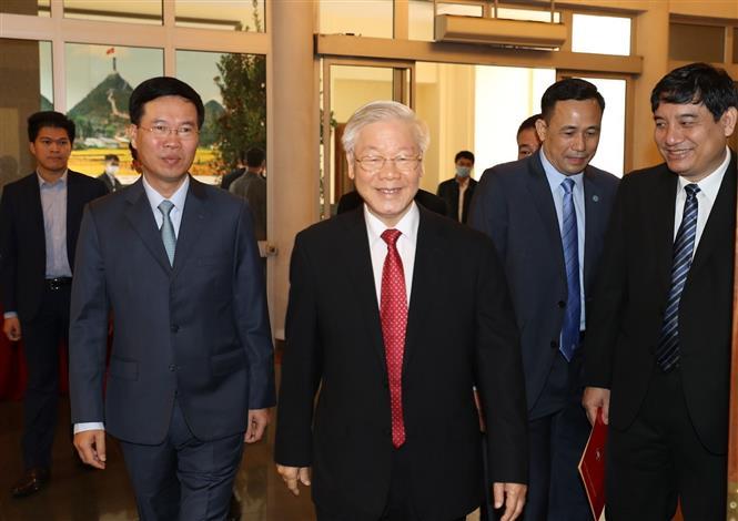 Tổng Bí thư, Chủ tịch nước Nguyễn Phú Trọng đến dự buổi lễ. Ảnh: Trí Dũng/TTXVN
