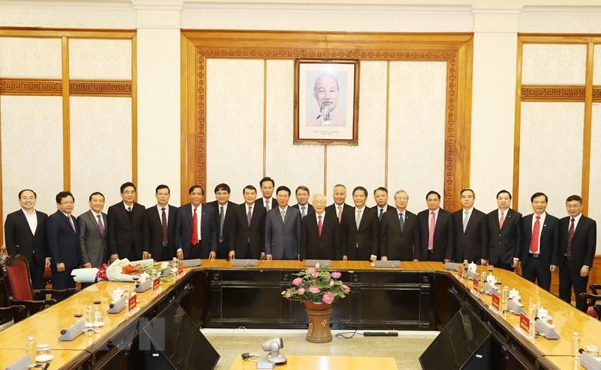 Tổng Bí thư, Chủ tịch nước Nguyễn Phú Trọng và các đại biểu dự buổi lễ. Ảnh: Trí Dũng/TTXVN