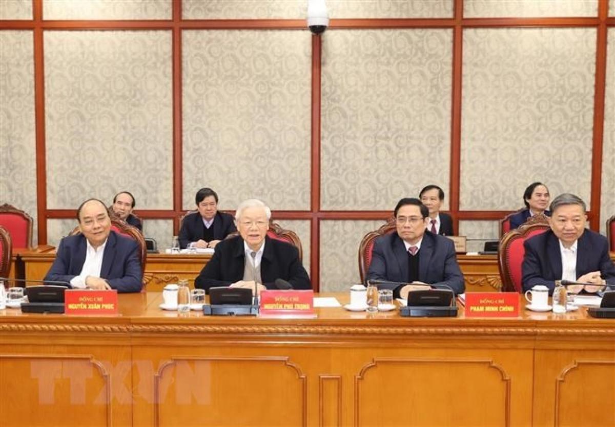 Tổng Bí thư, Chủ tịch nước Nguyễn Phú Trọng phát biểu kết luận phiên họp. Ảnh: Trí Dũng/TTXVN