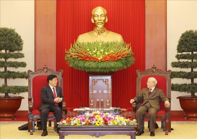 Tổng Bí thư, Chủ tịch nước Nguyễn Phú Trọng tiếp Bộ trưởng Bộ Công an Trung Quốc Triệu Khắc Chí. Ảnh: Trí Dũng/TTXVN