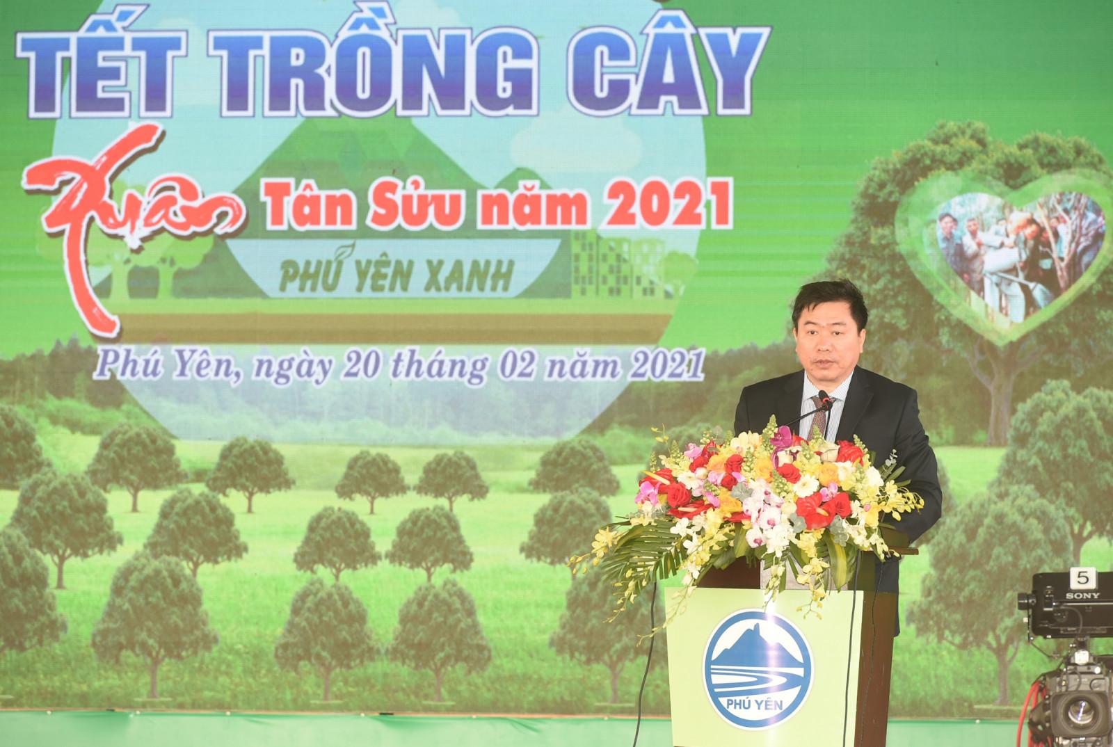 Phó Bí thư Tỉnh ủy, Chủ tịch UBND tỉnh Phú Yên Trần Hữu Thế phát biểu khai mạc buổi lễ. (Ảnh: VGP/Quang Hiếu)
