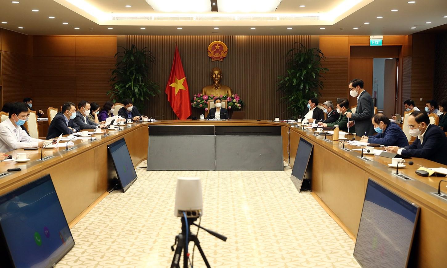 Cuộc họp sáng 23/2 của Ban Chỉ đạo quốc gia phòng chống COVID-19. Ảnh: VGP/Đình Nam