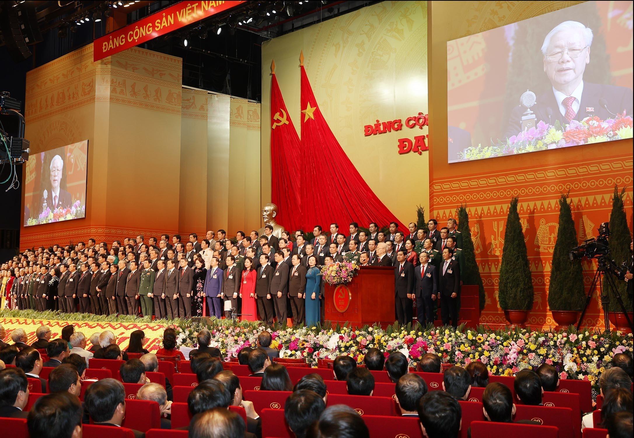 Tổng Bí thư, Chủ tịch nước Nguyễn Phú Trọng thay mặt Ban Chấp hành Trung ương khóa XIII phát biểu ý kiến tại phiên bế mạc Đại hội Đảng lần thứ XIII, sáng 1/2.Ảnh VGP