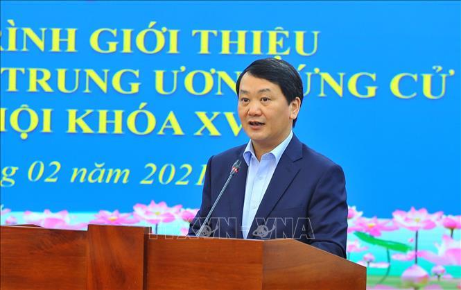 Đồng chí Hầu A Lềnh, Phó Chủ tịch kiêm Tổng Thư ký Ủy ban Trung ương MTTQ Việt Nam phát biểu khai mạc - Ảnh: Minh Đức/TTXVN