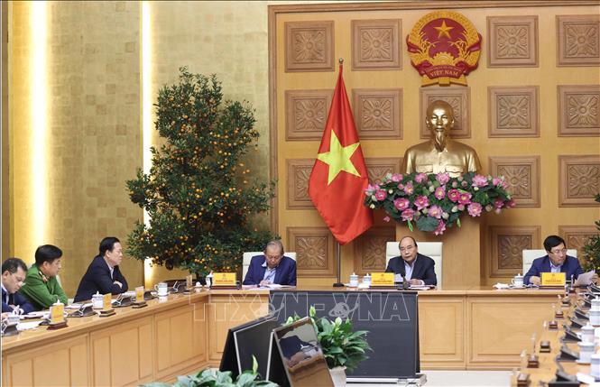 Thủ tướng Nguyễn Xuân Phúc chủ trì phiên họp. Ảnh: Thống Nhất/TTXVN