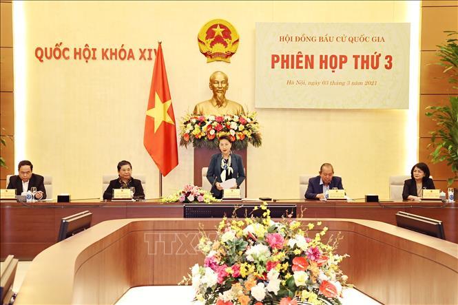 Chủ tịch Quốc hội Nguyễn Thị Kim Ngân, Chủ tịch Hội đồng Bầu cử Quốc gia chủ trì Phiên họp thứ 3 của Hội đồng, chiều 3/3/2021. Ảnh: Trọng Đức/TTXVN