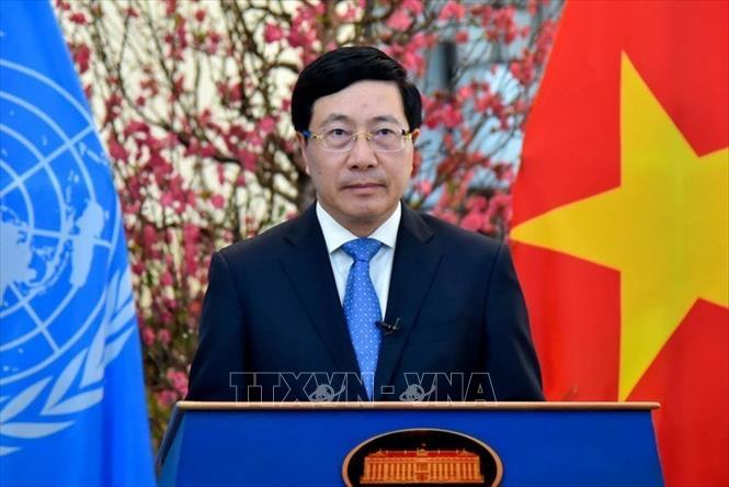Phó Thủ tướng Phạm Bình Minh phát biểu tại Phiên họp cấp cao Khóa họp 46 Hội đồng Nhân quyền Liên hợp quốc (22/2/2021). Ảnh: TTXVN phát
