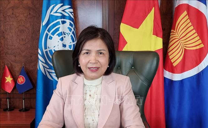 Đại sứ Lê Thị Tuyết Mai phát biểu tại một phiên thảo luận của Hội đồng Nhân quyền. Ảnh: TTXVN phát