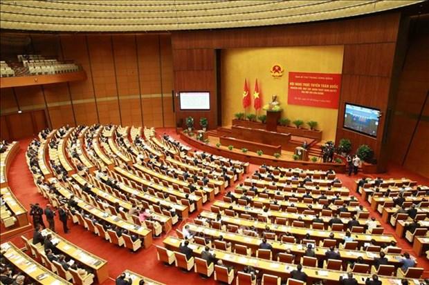 Quang cảnh Hội nghị tại điểm cầu chính - Phòng họp Diên Hồng, Nhà Quốc hội (Hà Nội). Ảnh: Phương Hoa - TTXVN