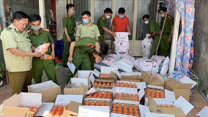 Lực lượng chức năng kiểm đếm số thuốc bảo vệ thực vật tạm giữ. Ảnh: TTXVN phát